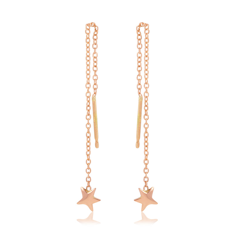 Star Chain Drop Earrings, Rose Gold