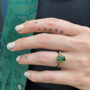 Ripple in the Well Ring, Green Tourmaline Cabochon, Diamonds, 18K Yellow Gold, Oxidized Sterling SIlver