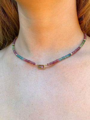 Beaded Tourmaline Necklace with Tourmaline Pendant