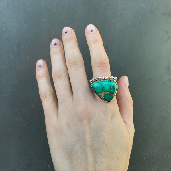 One of a Kind Royston Turquoise and Diamond Ring, 14k YG