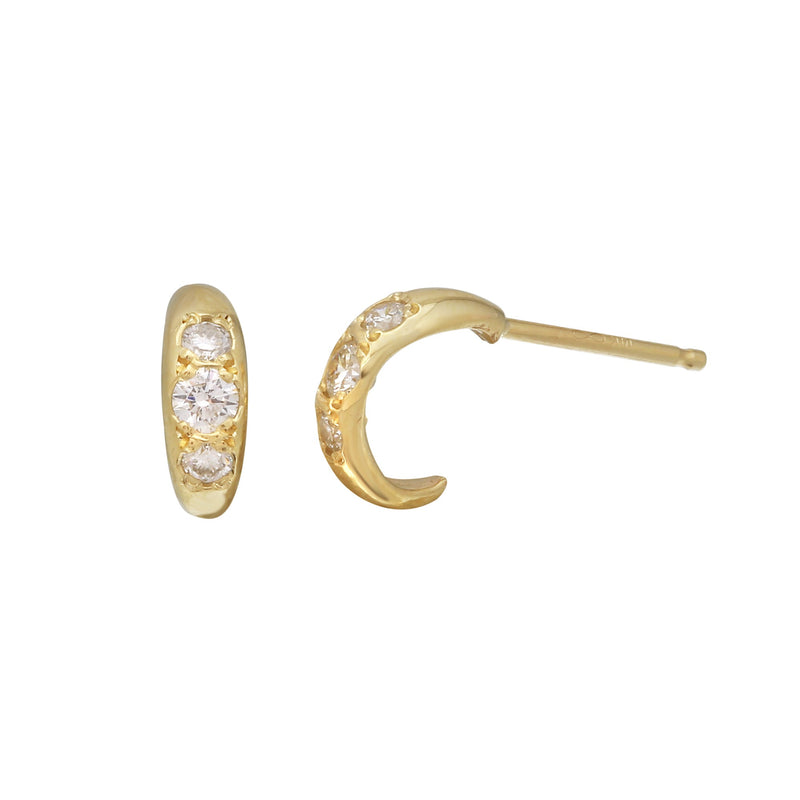 Triple Diamond Huggie Stud in Yellow Gold (SINGLE)