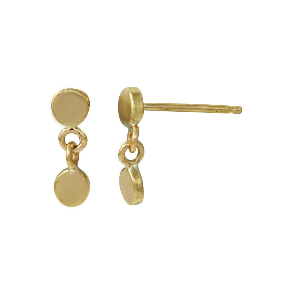 Double Circle Dangle Stud, Yellow Gold