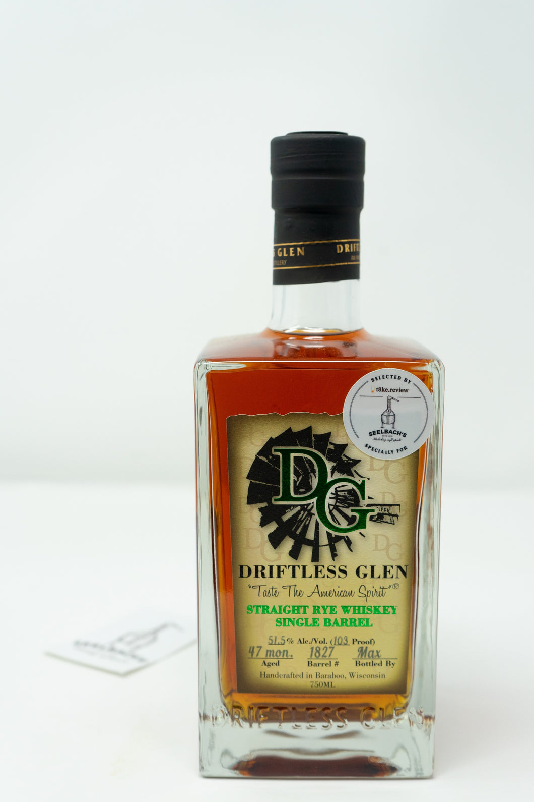 Driftless Glen Distillery Single Barrel Rye - T8ke/Seelbach's #1827