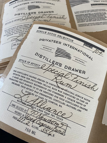 Privateer Rum Distiller's Drawer - 'L'Alliance'  Cognac Cask Finished Rum
