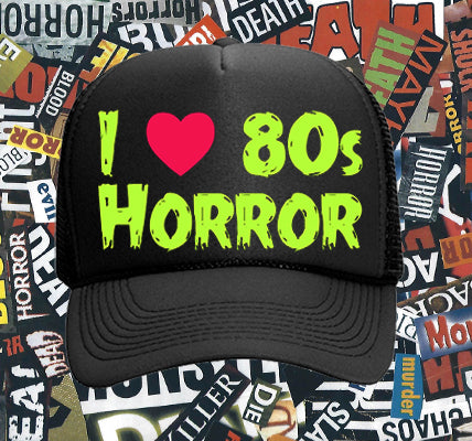 688ee2a6587 I Love 80s Horror Trucker Hat - Slime Green
