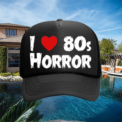 I Heart 80s Horror Hat - White on Black