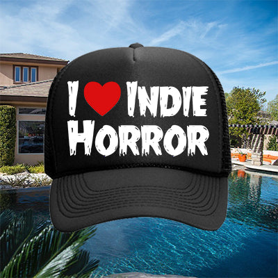 I Heart Indie Horror Hat - White on Black