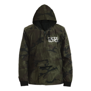 Exclusive Suicide Silence Store Camo 'Blvd' Jacket featuring the iconic Suicide SIlence logo. Official Merch, Official Store, Official Shop, Hoodies, Official Merchandise, T-shirts, Hoodies, Jackets, Shirts, Mitch Lucker, killermerch.com, Killer Merch