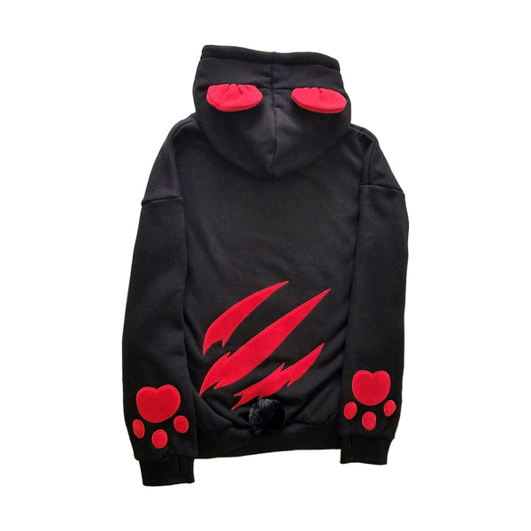 Bearly Dangerous Black and Red Punk Hoodie