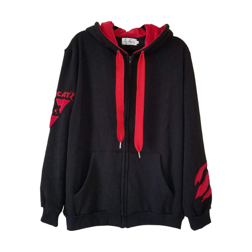 Bearly Hazardous Black and Red Zip Up Hoodie