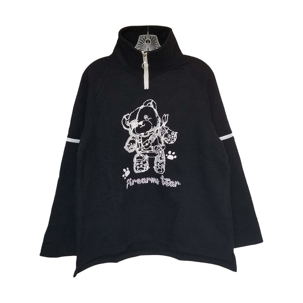 "Punk Zippers ""Firearms Bear"" Oversize Top in Black and Purple"