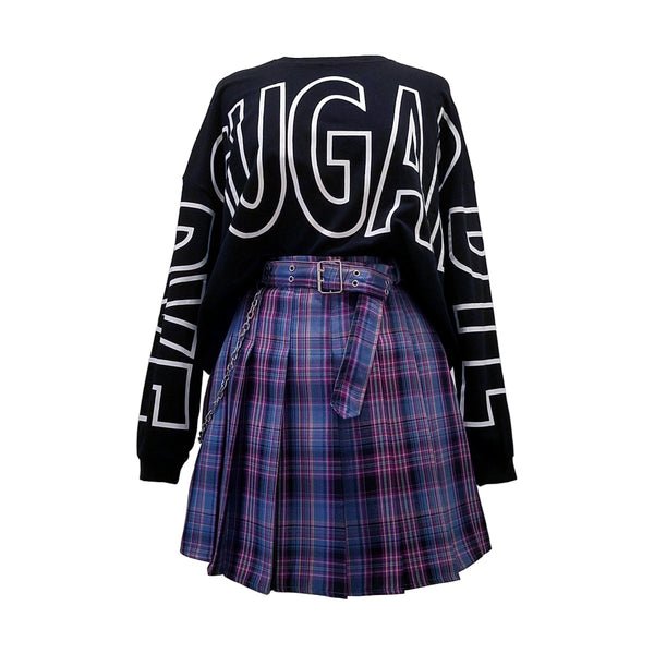 """Electric Kiss"" Pleated Plaid Mini-Skirt"