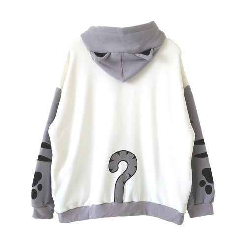 Cat and Fish Gray Hoodie with Cat Ears and Tail