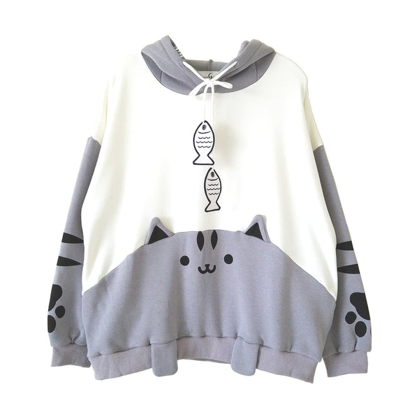 Cat and Fish Gray Hoodie