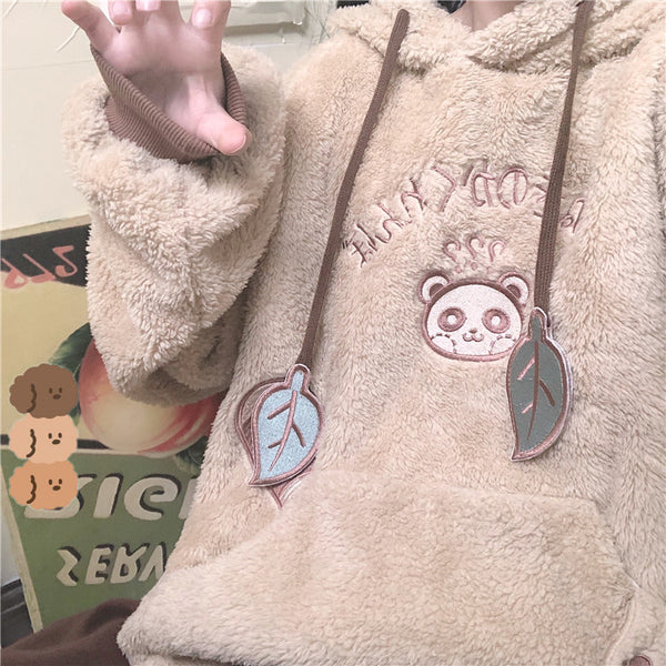 Hidden Tanuki Fuzzy Cropped Hoodie with Japanese Racoon Ears