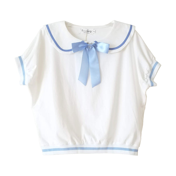 """Sailor Cat"" Short Sleeve Top with Cat Ears and Bow"