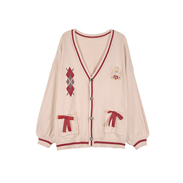 Magic Academy Cream Bunny Cardigan with Red Ribbons