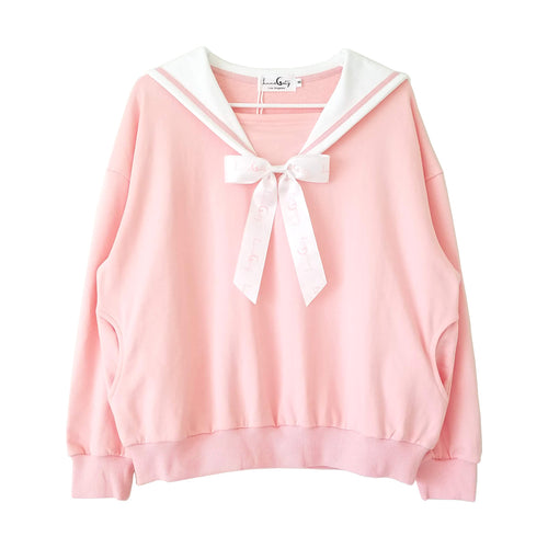 """Doki Doki"" Heart Sailor Collar Sweatshirt - Pink"