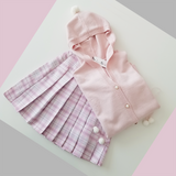 Tender Pink Snow Hooded Cardigan