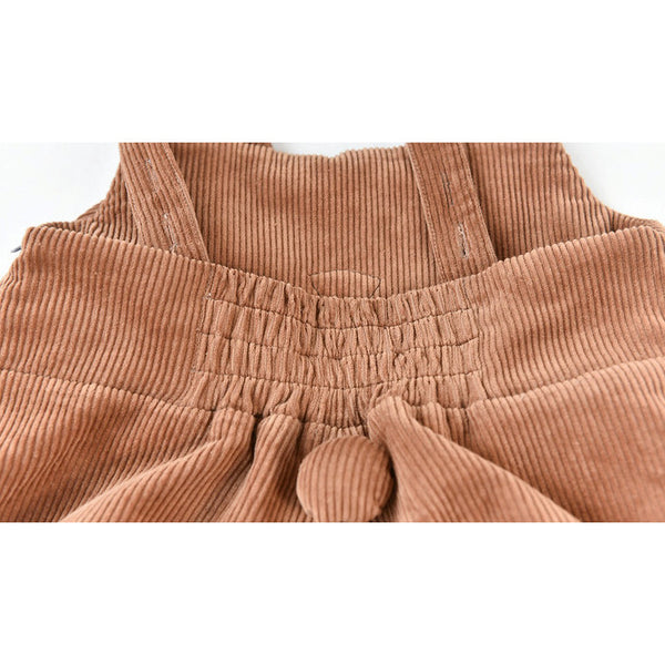 Smiling Corgi Corduroy Overall Shorts in Brown