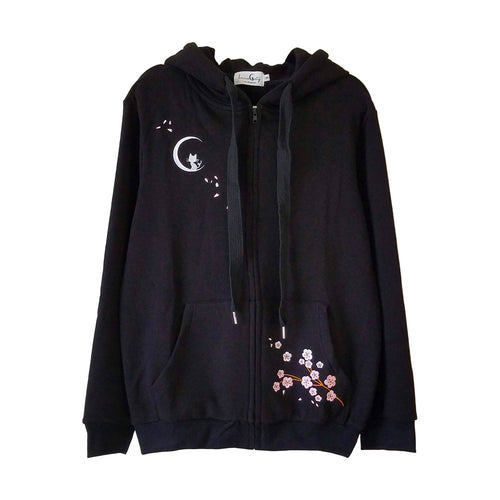 "Hanami ""See the Flowers"" Black Zip Up Hoodie with Sakura and Cat Embroidery"
