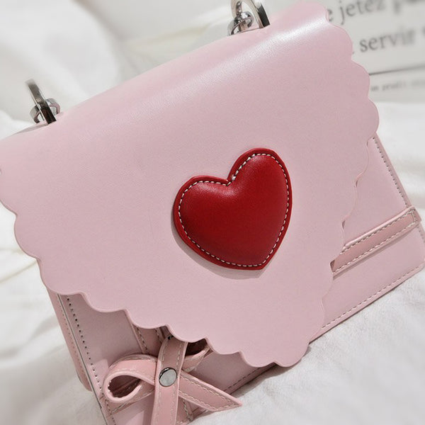 """A Little Red Heart"" Clutch - Pink / White - with Crossbody Strap"