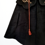 Ash Dragon Black Embroidered Cape with Dragon Horns