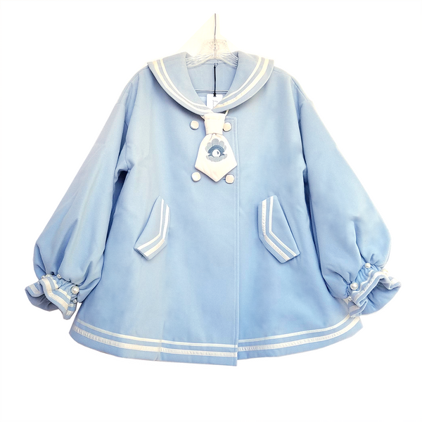 Baby Blue Pearl Sailor Collar A-Line Coat