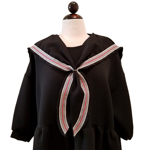 Casual Oversize Sailor Collar Dress - Black