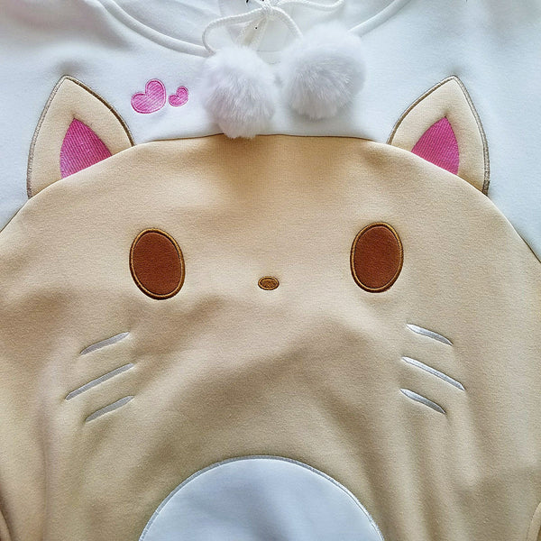 CAT-ramel Plush Hoodie with Cat Ears