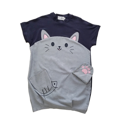 Cat and Fish Navy Gray Long Tee Shirt (Short Sleeve Top)