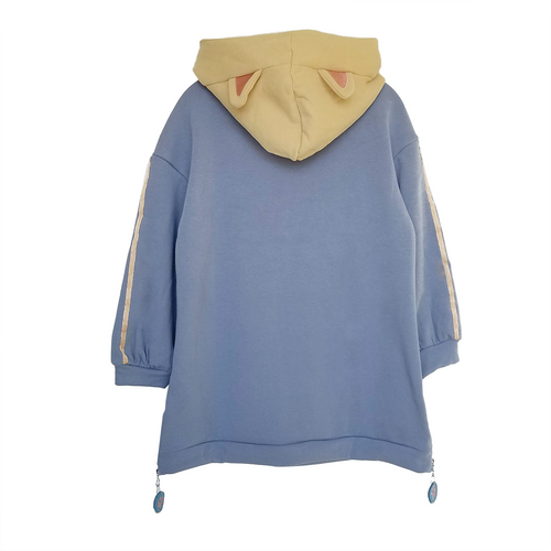 Cream and Lavender Blue Cat Ear Long Hoodie