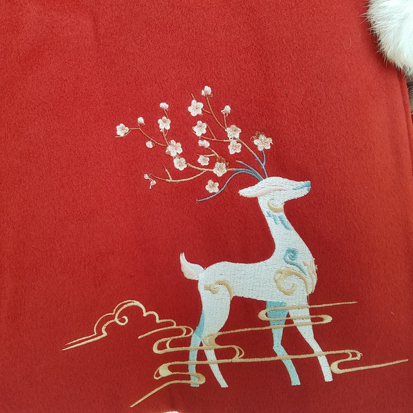 Deer & Plum Blossoms Holly Red Cape with White Faux Fur
