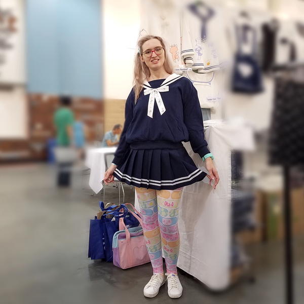 """Doki Doki"" Heart Sailor Collar Sweatshirt - Navy"