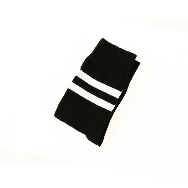 Extra Long Double Striped Thigh High Socks in Black