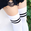Extra Long Double Striped Thigh High Socks in White
