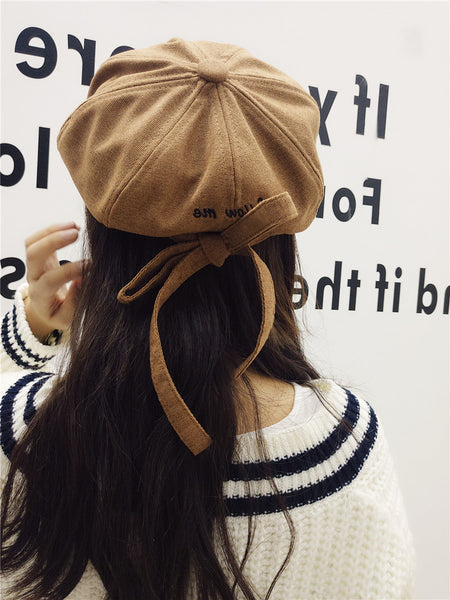 """Follow Me"" Ribbon Newsboy Hat"