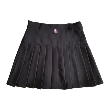 Black and Red Matadora Wide Box Pleated Mini-Skirt