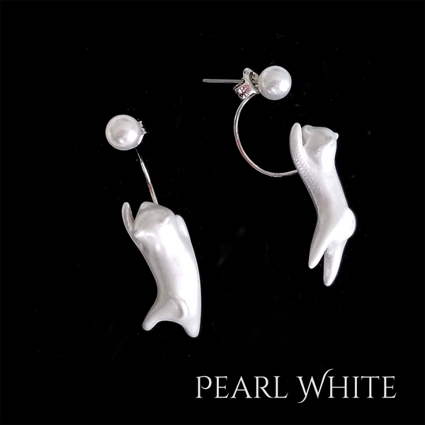 """Hanging Catz"" Earrings - (Pearl White 