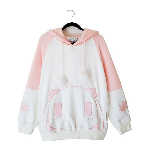 Rosy Rabbit Plush Hoodie with Bunny Ears