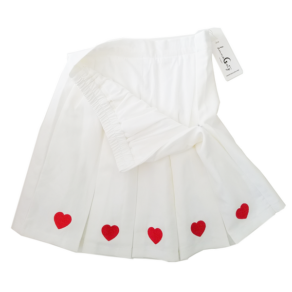 """I Heart ♥ Cute"" Wide Pleated Mini-Skirt in White"