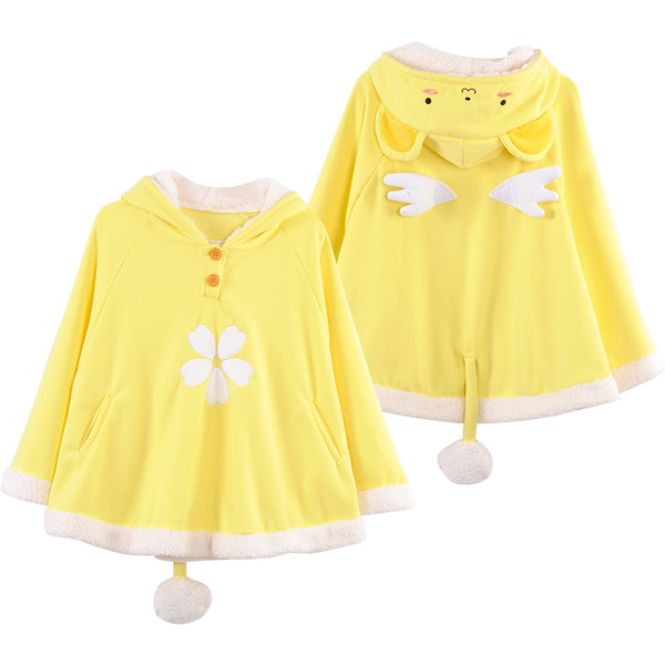 Kero Chan Sakura Cape with Wings in Soft Yellow