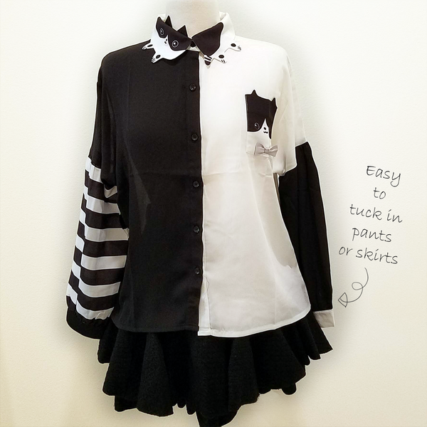 """Mister Cat"" Chiffon Blouse with Kitty Collar"