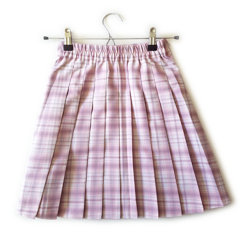 """Misty Pink"" Pleated Plaid Mini-Skirt"