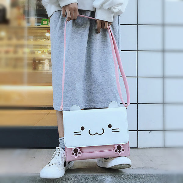 """Out with My Cat"" - Pink and White Crossbody Bag"