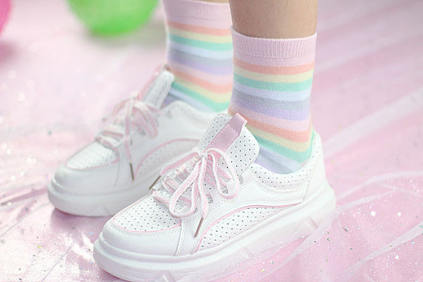 Rainbow Stripes Socks (Set of 2 Colors ~Bold & Pastel)