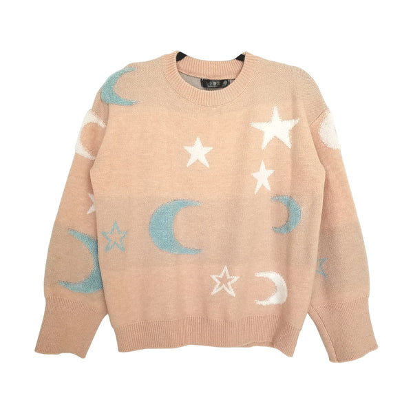 "Soft ""Stars and Moon"" Sweater in Light Blue and Pink"