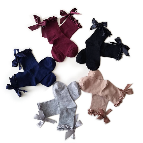 Sweet & Elegant Ribbon Crew Socks - 5 Colors