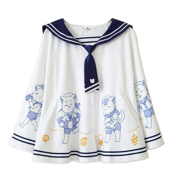 """Let's Sail"" Cats Cape with Sailor Collar 