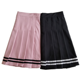 Sailor Pleated Mini-Skirt in Black
